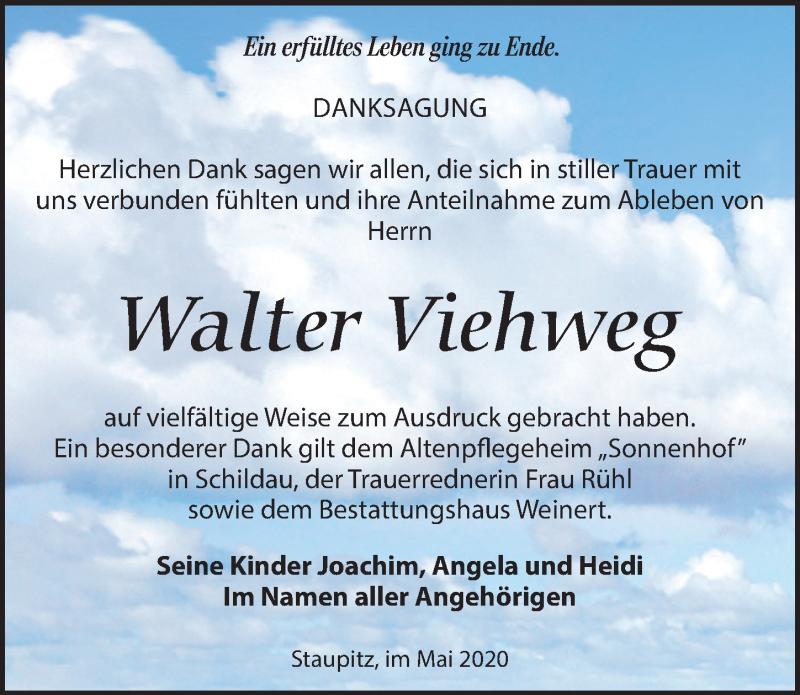 Traueranzeige für Walter Viehweg vom 13.06.2020 aus Torgauer Zeitung