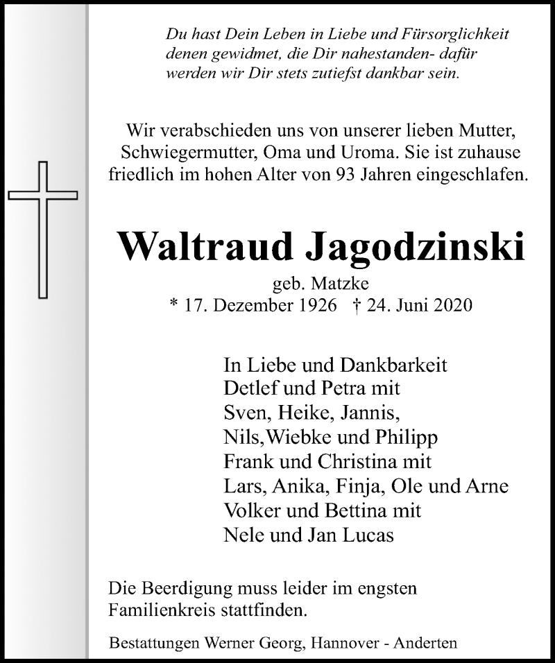 Traueranzeige für Waltraud Jagodzinski vom 27.06.2020 aus Hannoversche Allgemeine Zeitung/Neue Presse