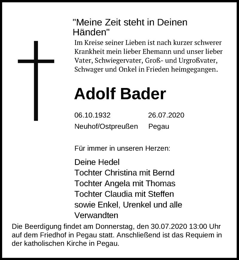 Traueranzeige für Adolf Bader vom 29.07.2020 aus Leipziger Volkszeitung