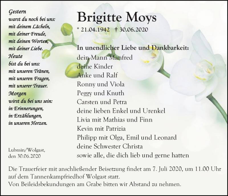 Traueranzeige für Brigitte Moys vom 04.07.2020 aus Ostsee-Zeitung GmbH