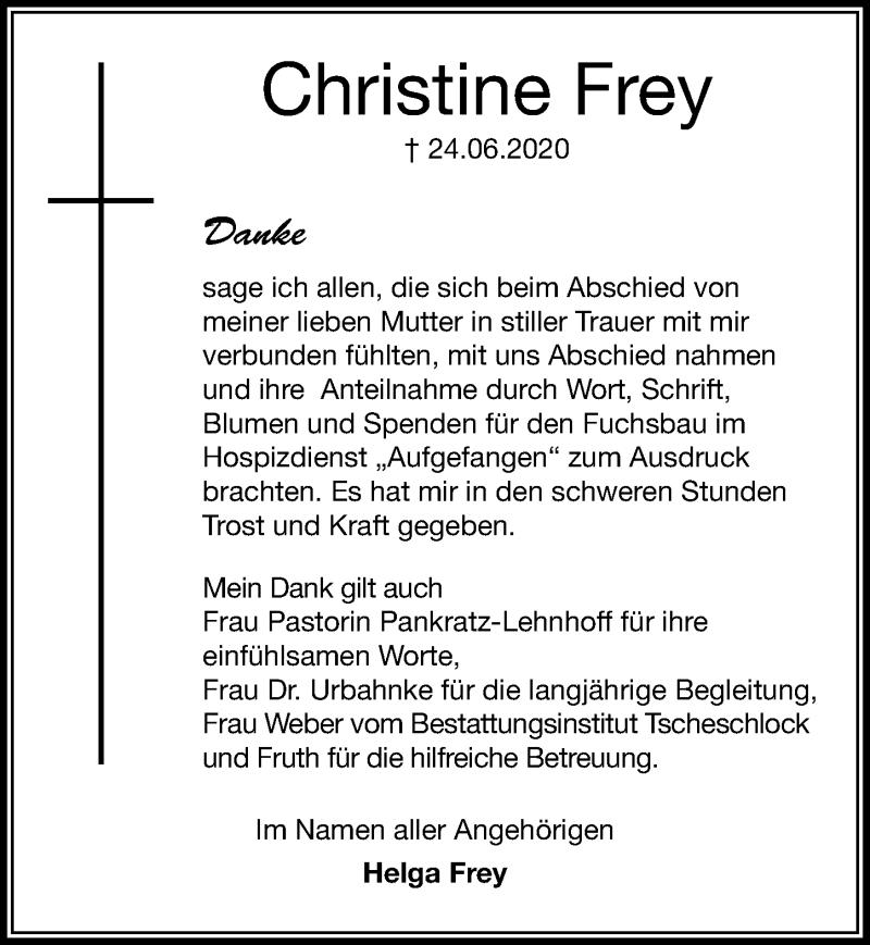 Traueranzeige für Christine Frey vom 25.07.2020 aus Hannoversche Allgemeine Zeitung/Neue Presse