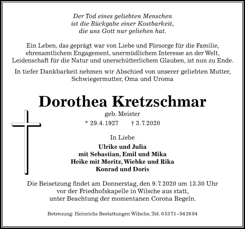 Traueranzeige von  Dorothea Kretzschmar