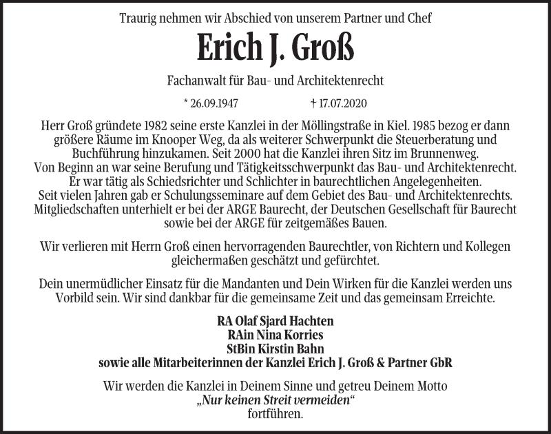 Traueranzeige für Erich Groß vom 25.07.2020 aus Kieler Nachrichten