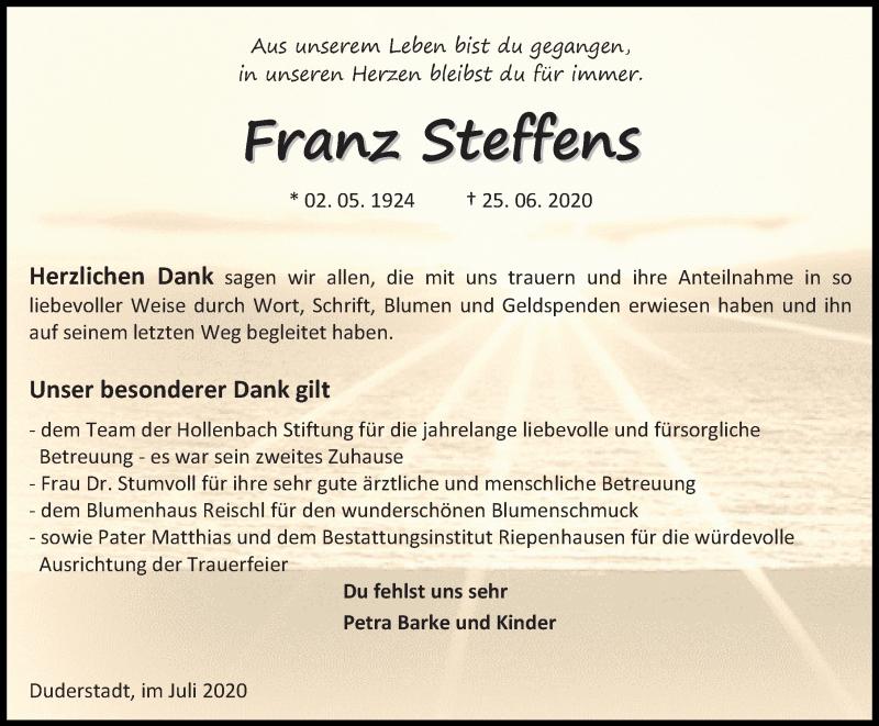 Traueranzeige für Franz Steffens vom 18.07.2020 aus Eichsfelder Tageblatt