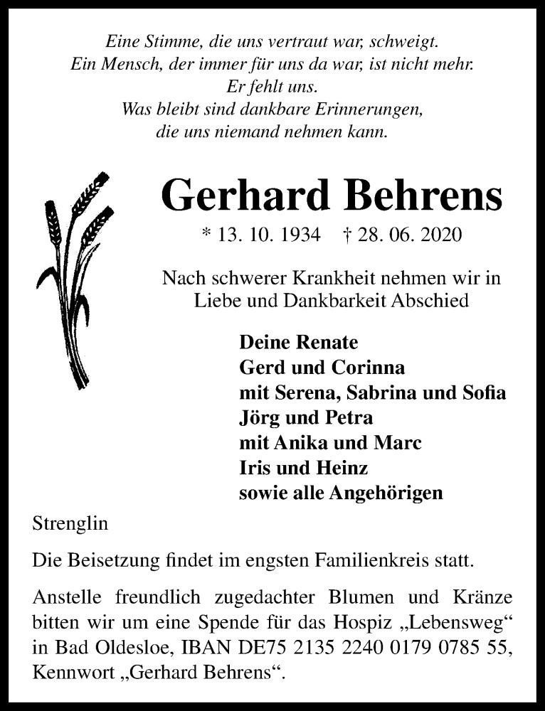 Traueranzeige für Gerhard Behrens vom 01.07.2020 aus Lübecker Nachrichten