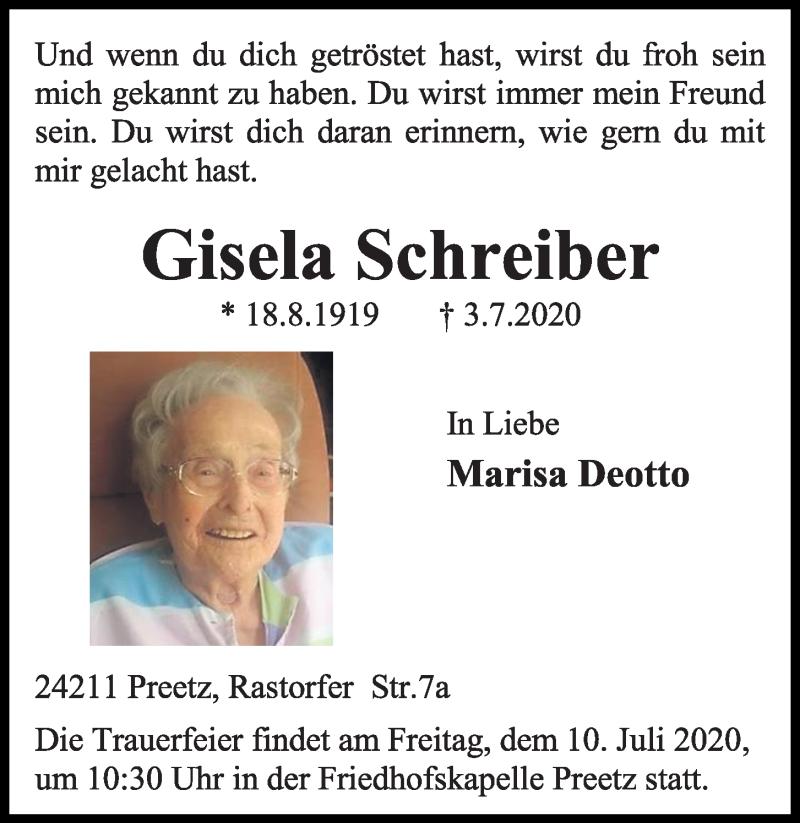 Traueranzeige von  Gisela Schreiber