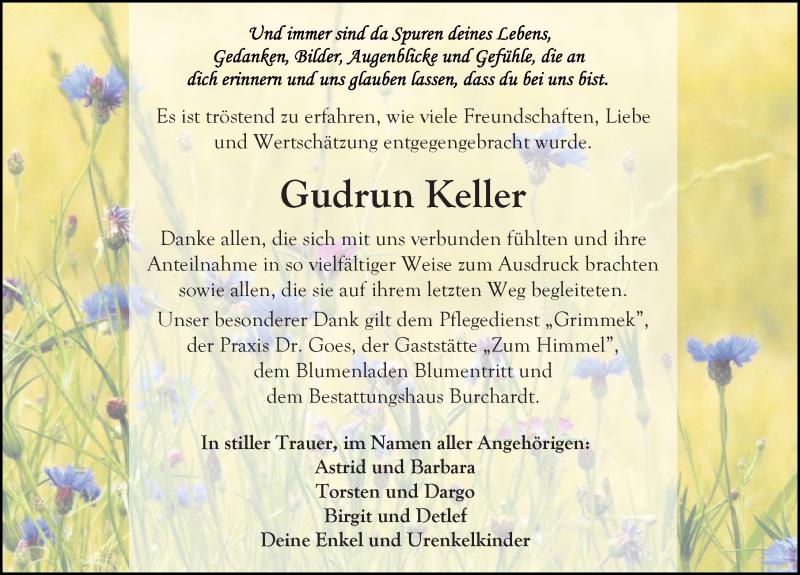 Traueranzeige für Gudrun Keller vom 11.07.2020 aus Ostsee-Zeitung GmbH