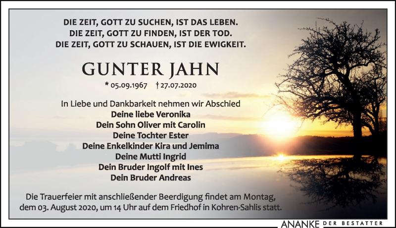 Traueranzeige für Gunter Jahn vom 31.07.2020 aus Leipziger Volkszeitung