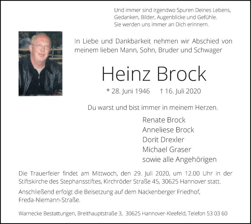 Traueranzeige für Heinz Brock vom 25.07.2020 aus Hannoversche Allgemeine Zeitung/Neue Presse