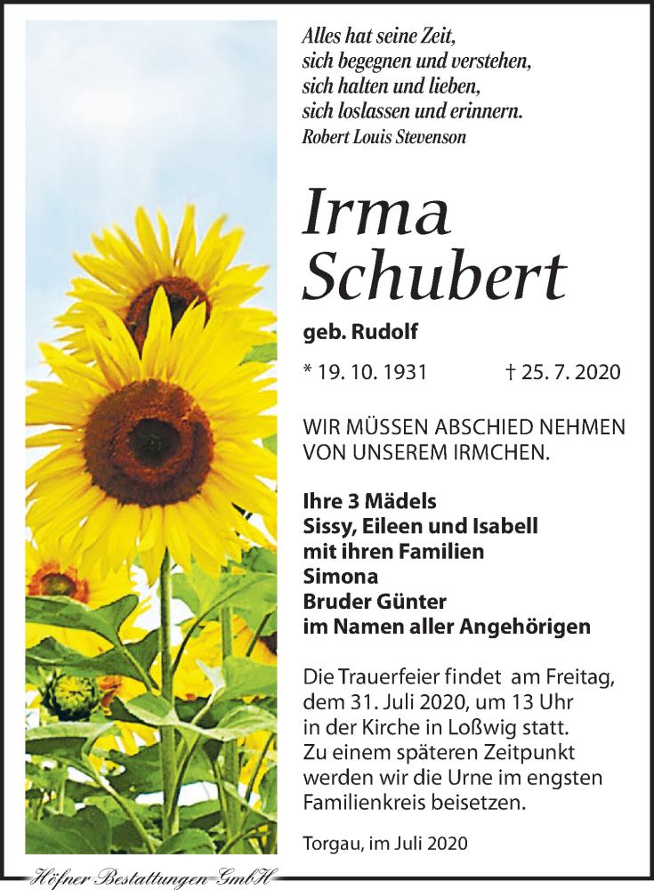 Traueranzeige für Irma Schubert vom 28.07.2020 aus Torgauer Zeitung
