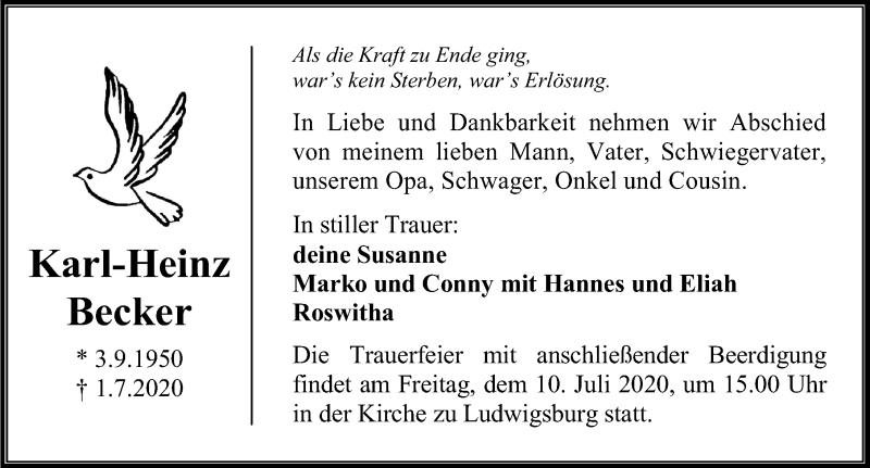Traueranzeige von  Karl-Heinz Becker