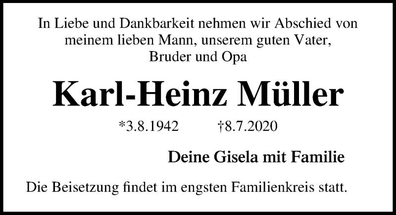 Traueranzeige von  Karl-Heinz Müller