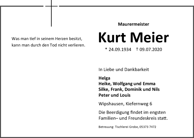 Traueranzeige von  Kurt Meier