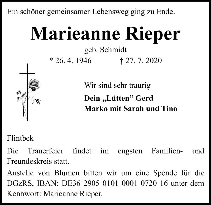 Traueranzeige für Marieanne Rieper vom 01.08.2020 aus Kieler Nachrichten