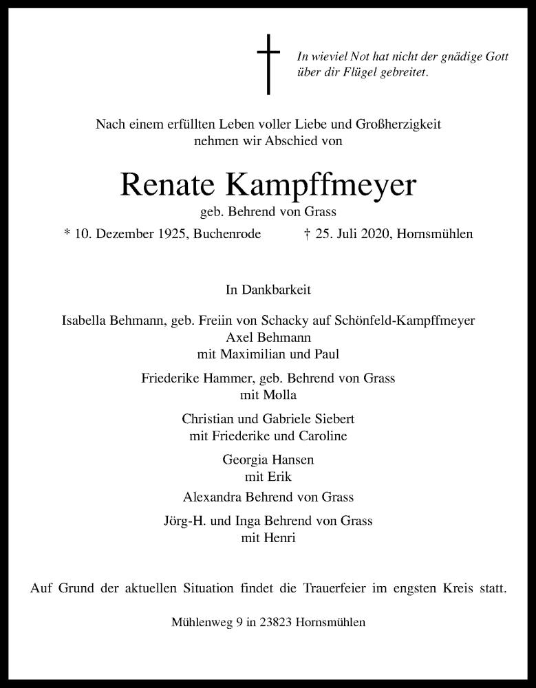 Traueranzeige für Renate Kampffmeyer vom 29.07.2020 aus Lübecker Nachrichten
