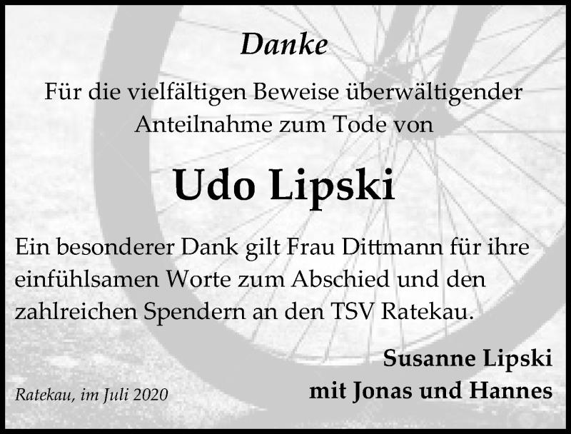 Traueranzeige für Udo Lipski vom 26.07.2020 aus Lübecker Nachrichten
