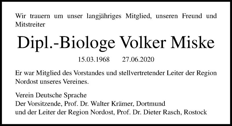 Traueranzeige für Volker Miske vom 08.07.2020 aus Ostsee-Zeitung GmbH