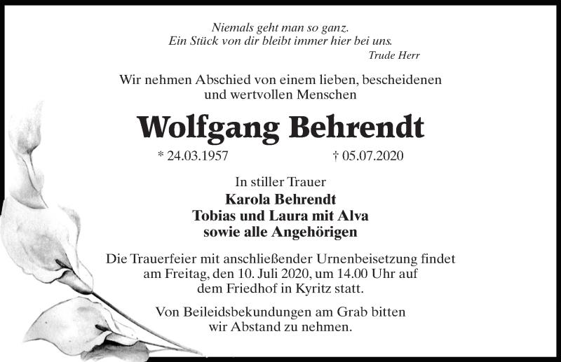 Traueranzeige von  Wolfgang Behrendt