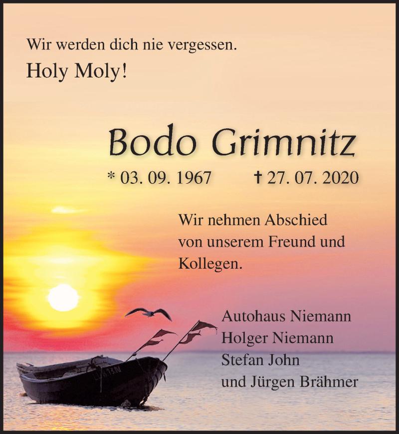 Traueranzeige für Bodo Grimnitz vom 01.08.2020 aus Ostsee-Zeitung GmbH