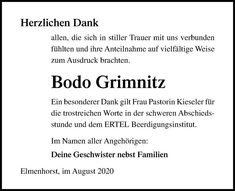 Traueranzeige für Bodo Grimnitz vom 22.08.2020 aus Ostsee-Zeitung GmbH