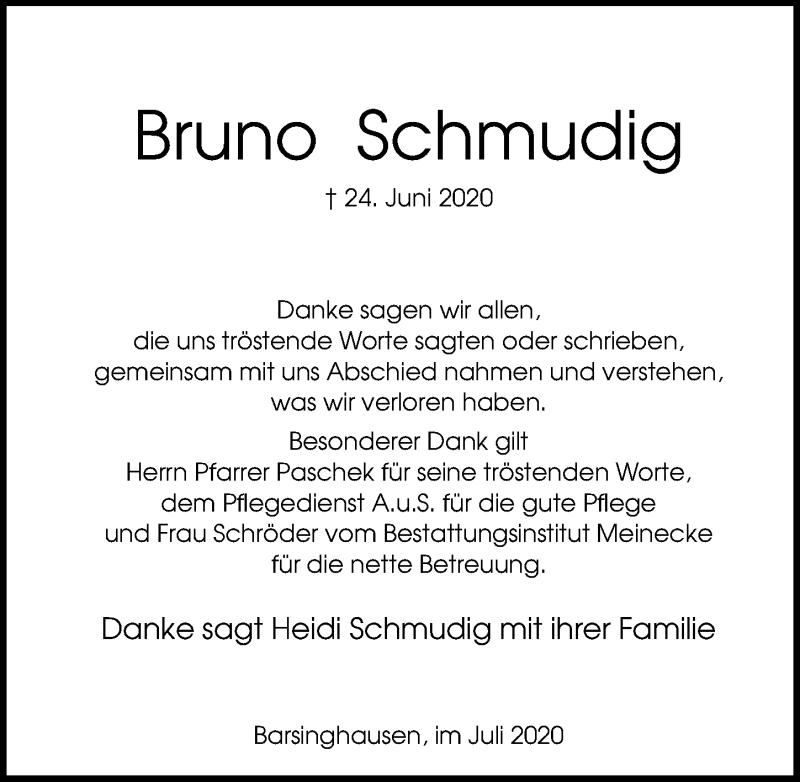 Traueranzeige für Bruno Schmudig vom 01.08.2020 aus Hannoversche Allgemeine Zeitung/Neue Presse
