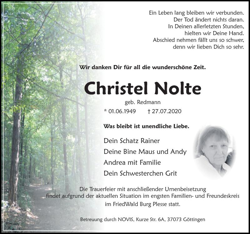 Traueranzeige für Christel Nolte vom 01.08.2020 aus Göttinger Tageblatt