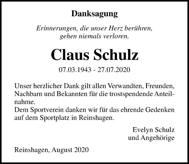Traueranzeige für Claus Schulz vom 22.08.2020 aus Ostsee-Zeitung GmbH