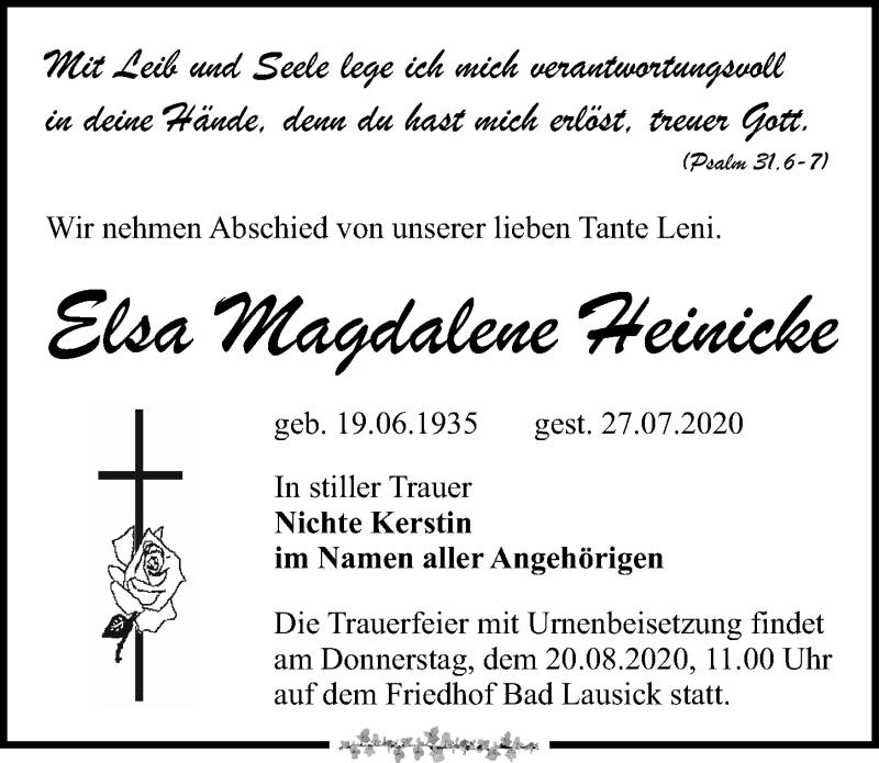 Traueranzeige für Elsa Magdalene Heinicke vom 01.08.2020 aus Leipziger Volkszeitung