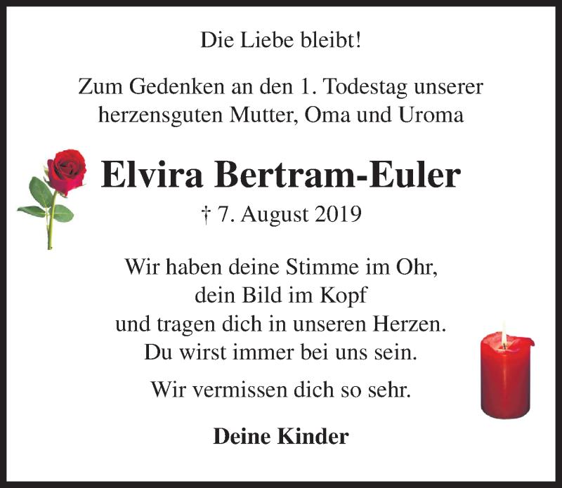 Traueranzeige von  Elvira Bertram-Euler