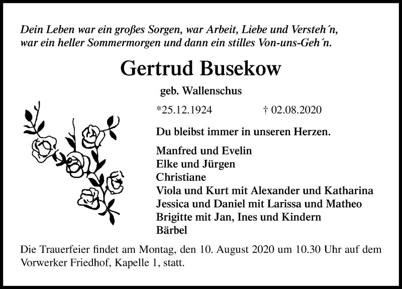 Traueranzeige für Gertrud Busekow vom 06.08.2020 aus Lübecker Nachrichten