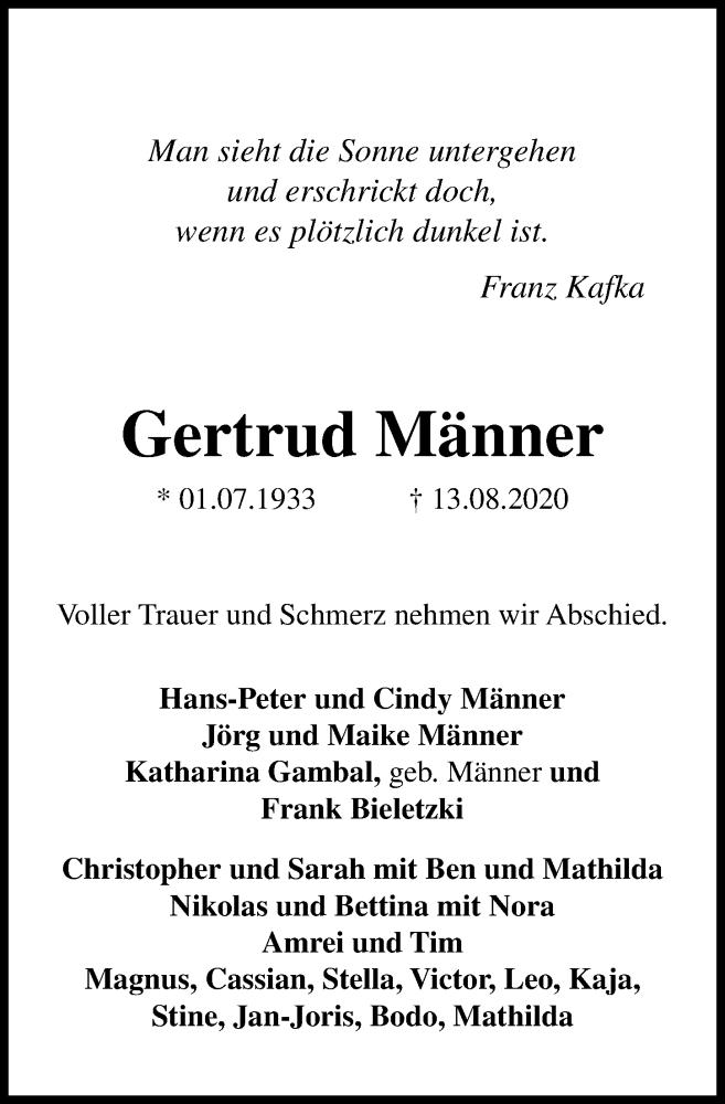 Traueranzeige von  Gertrud Männer