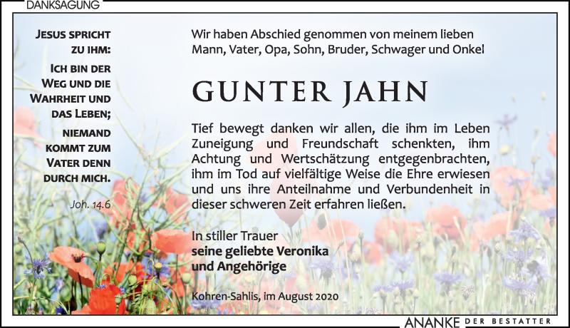 Traueranzeige für Gunter Jahn vom 15.08.2020 aus Leipziger Volkszeitung
