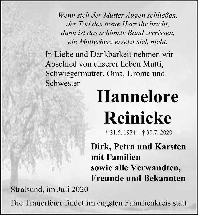 Traueranzeige für Hannelore Reinicke vom 01.08.2020 aus Ostsee-Zeitung GmbH