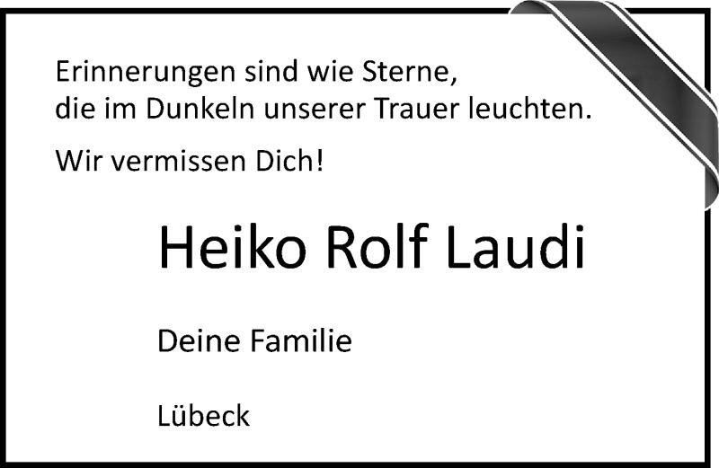 Traueranzeige für Heiko Rolf Laudi vom 30.08.2020 aus Lübecker Nachrichten