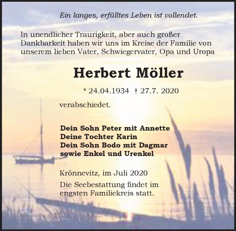 Traueranzeige für Herbert Möller vom 01.08.2020 aus Ostsee-Zeitung GmbH