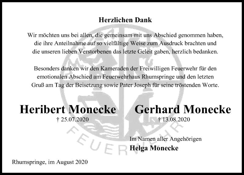 Traueranzeige für Heribert Monecke vom 29.08.2020 aus Göttinger Tageblatt