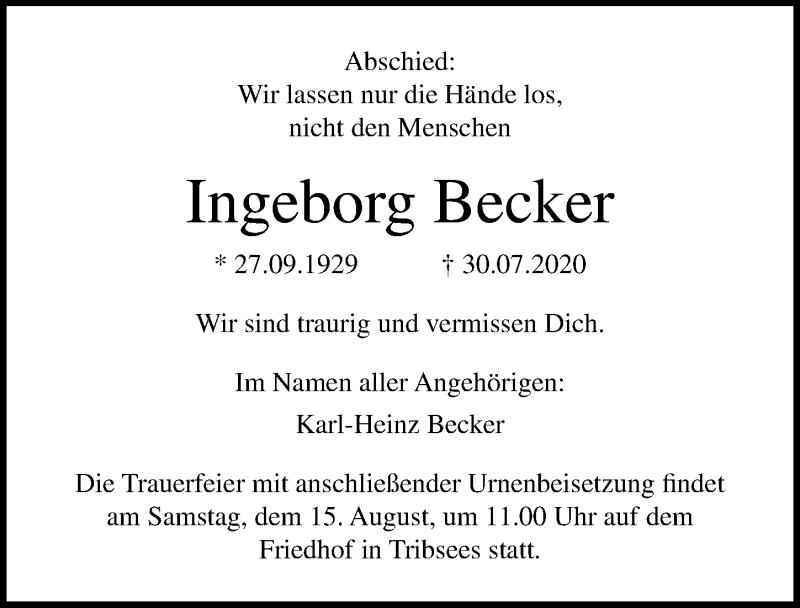 Traueranzeige für Ingeborg Becker vom 01.08.2020 aus Ostsee-Zeitung GmbH