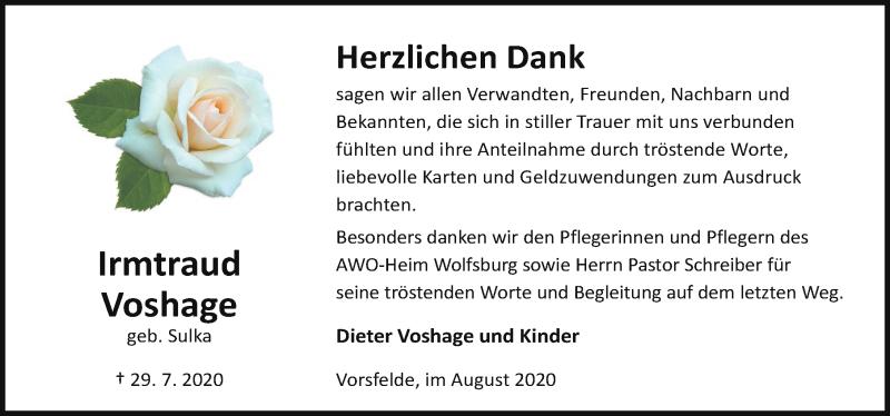 Traueranzeige für Irmtraud Voshage vom 29.08.2020 aus Aller Zeitung
