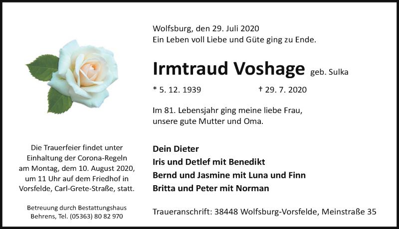 Traueranzeige für Irmtraud Voshage vom 01.08.2020 aus Aller Zeitung