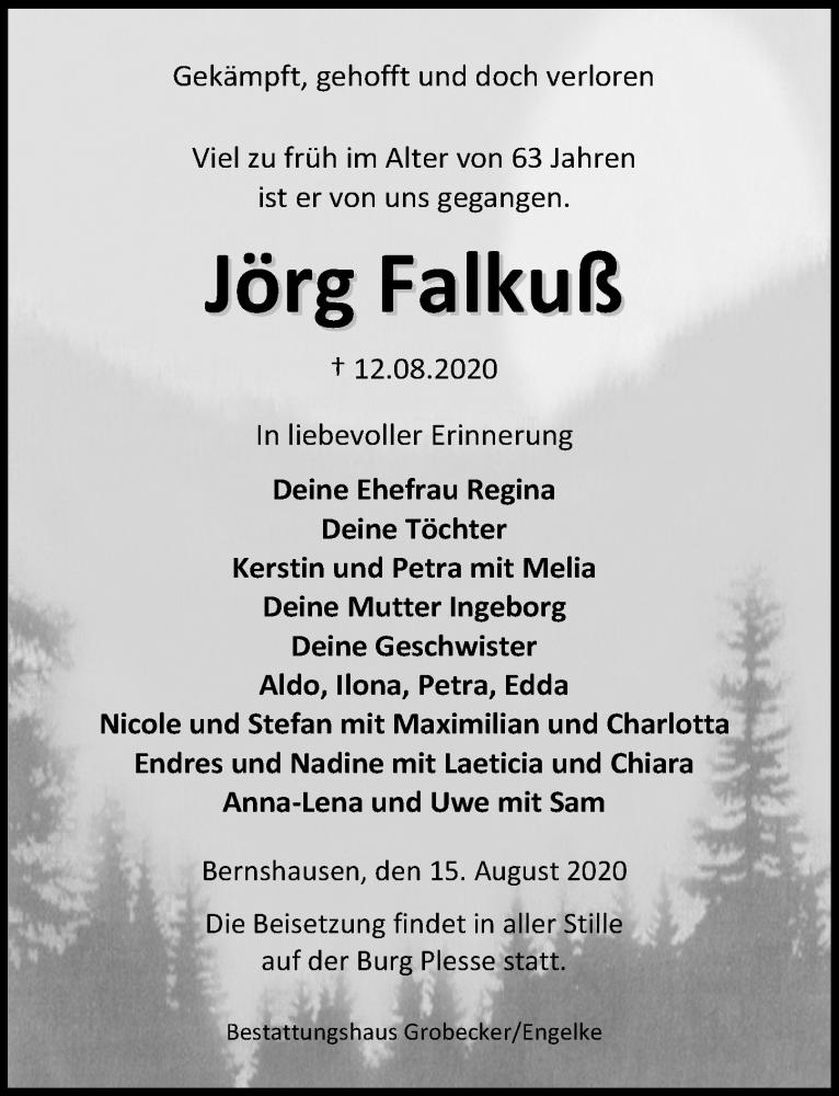 Traueranzeige für Jörg Falkuß vom 15.08.2020 aus Göttinger Tageblatt