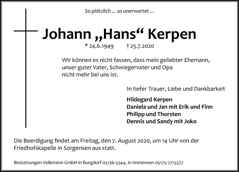 Traueranzeige für Johann  Kerpen vom 01.08.2020 aus Hannoversche Allgemeine Zeitung/Neue Presse