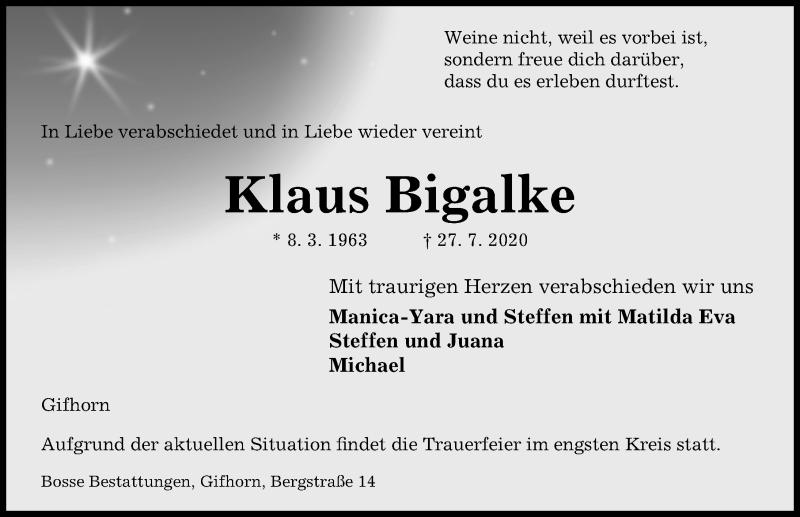 Traueranzeige für Klaus Bigalke vom 01.08.2020 aus Aller Zeitung