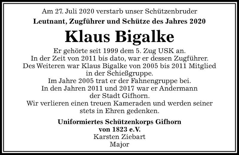 Traueranzeige für Klaus Bigalke vom 04.08.2020 aus Aller Zeitung