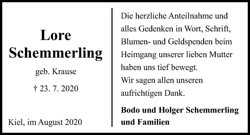 Traueranzeige für Lore Schemmerling vom 15.08.2020 aus Kieler Nachrichten