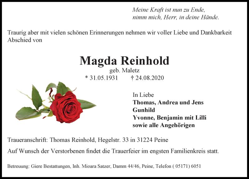 Traueranzeige für Magda Reinhold vom 29.08.2020 aus Peiner Allgemeine Zeitung