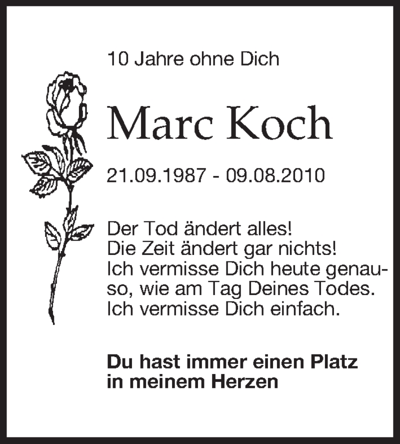 Traueranzeige für Marc Koch vom 08.08.2020 aus Leipziger Volkszeitung