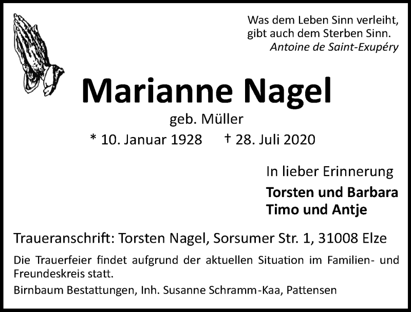 Traueranzeige für Marianne Nagel vom 01.08.2020 aus Hannoversche Allgemeine Zeitung/Neue Presse