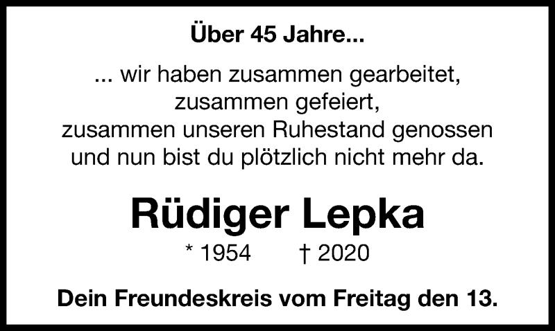 Traueranzeige für Rüdiger Lepka vom 08.08.2020 aus Hannoversche Allgemeine Zeitung/Neue Presse