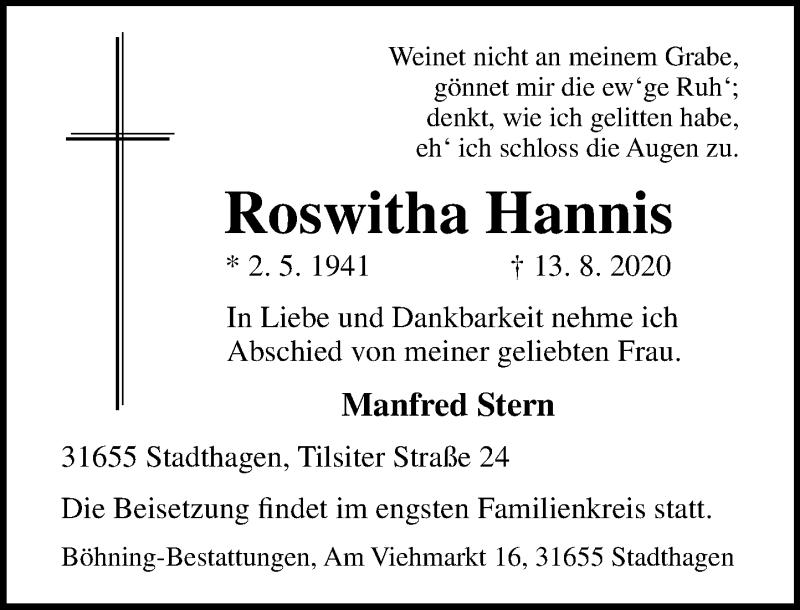 Traueranzeige von  Roswitha Hannis