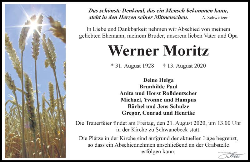 Traueranzeige von  Werner Moritz